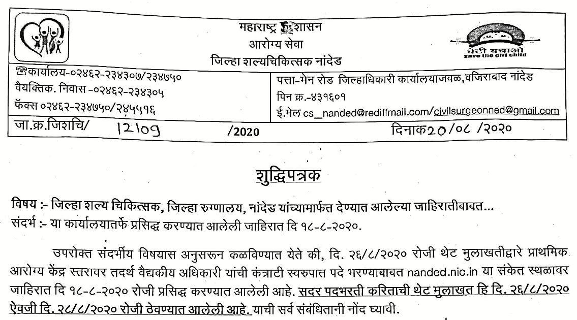 Jilha Nivad Samiti Nanded Bharti 2020