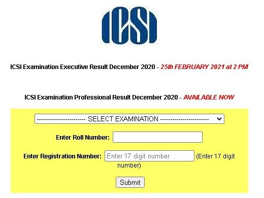 ICSI CS Exam Result 2021