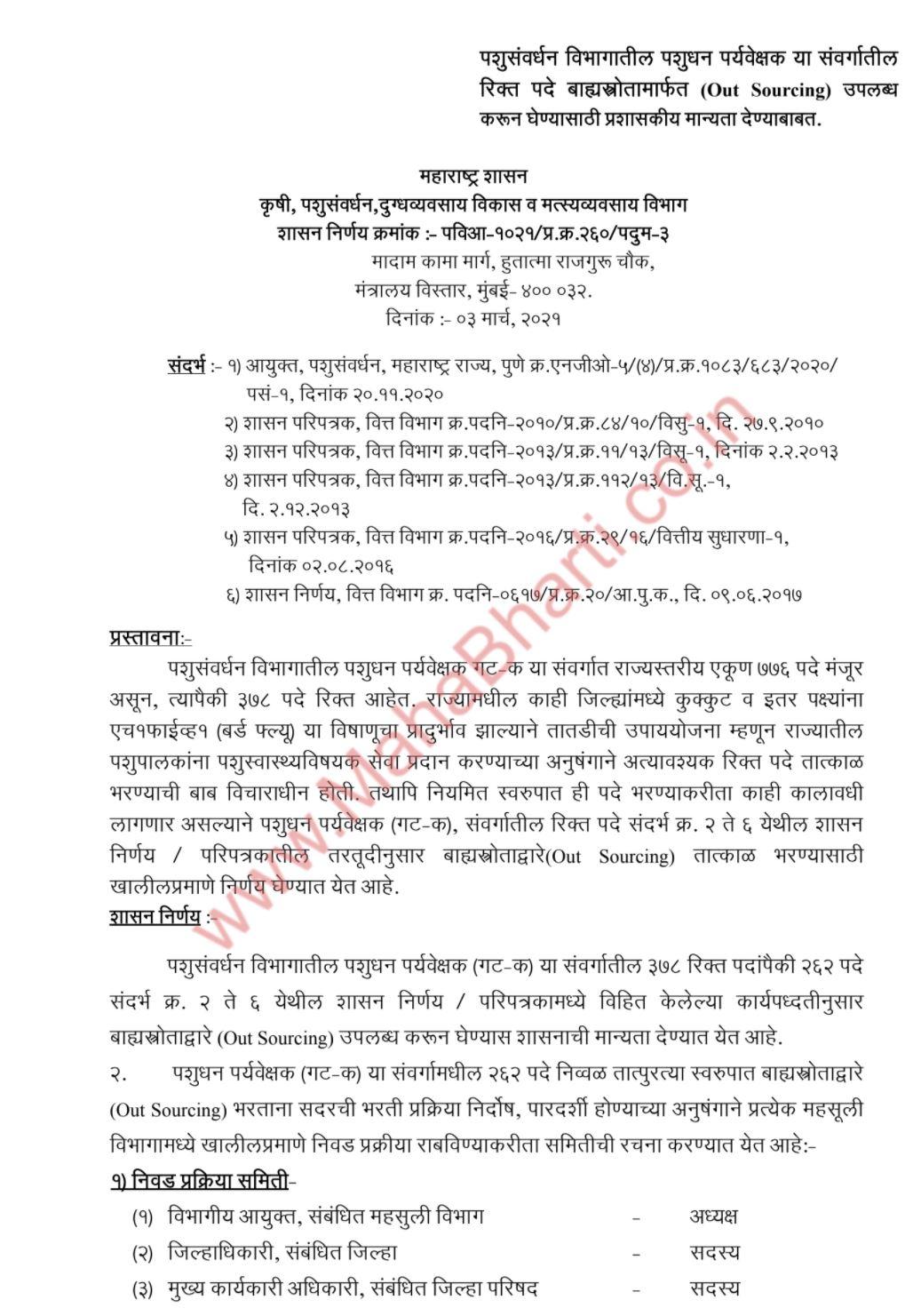PashuSavrdhan Vibhag Bharti 2021