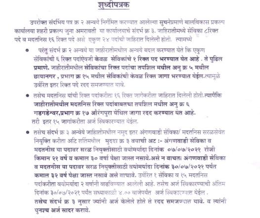 Amravati Anganwadi Recruitment 2021